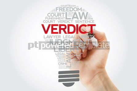Business: Verdict bulb word cloud collage with marker law concept backgro #11182