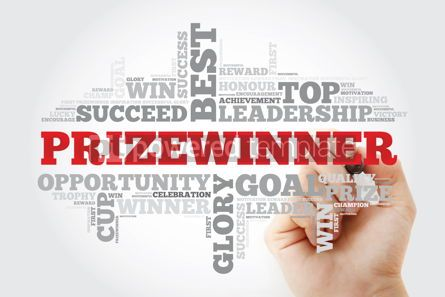 Business: Prizewinner word cloud with marker business concept #11186