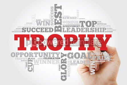 Business: Trophy word cloud collage with marker business concept backgrou #11192