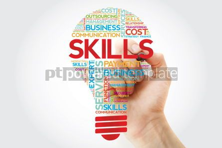 Business: Skills bulb word cloud with marker business concept background #11243