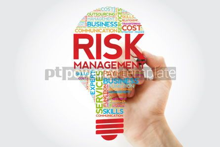 Business: Risk Management bulb word cloud with marker business concept #11245