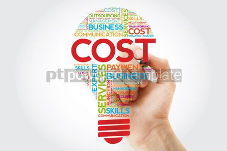 Business: Cost bulb word cloud with marker business concept #11247