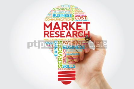 Business: Market Research bulb word cloud with marker business concept #11249