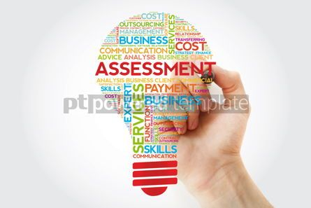 Business: Assessment bulb word cloud with marker business concept backgro #11253