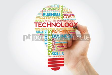 Business: Technology bulb word cloud with marker business concept backgro #11255