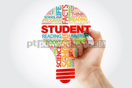 Business: STUDENT bulb word cloud collage with marker #11261
