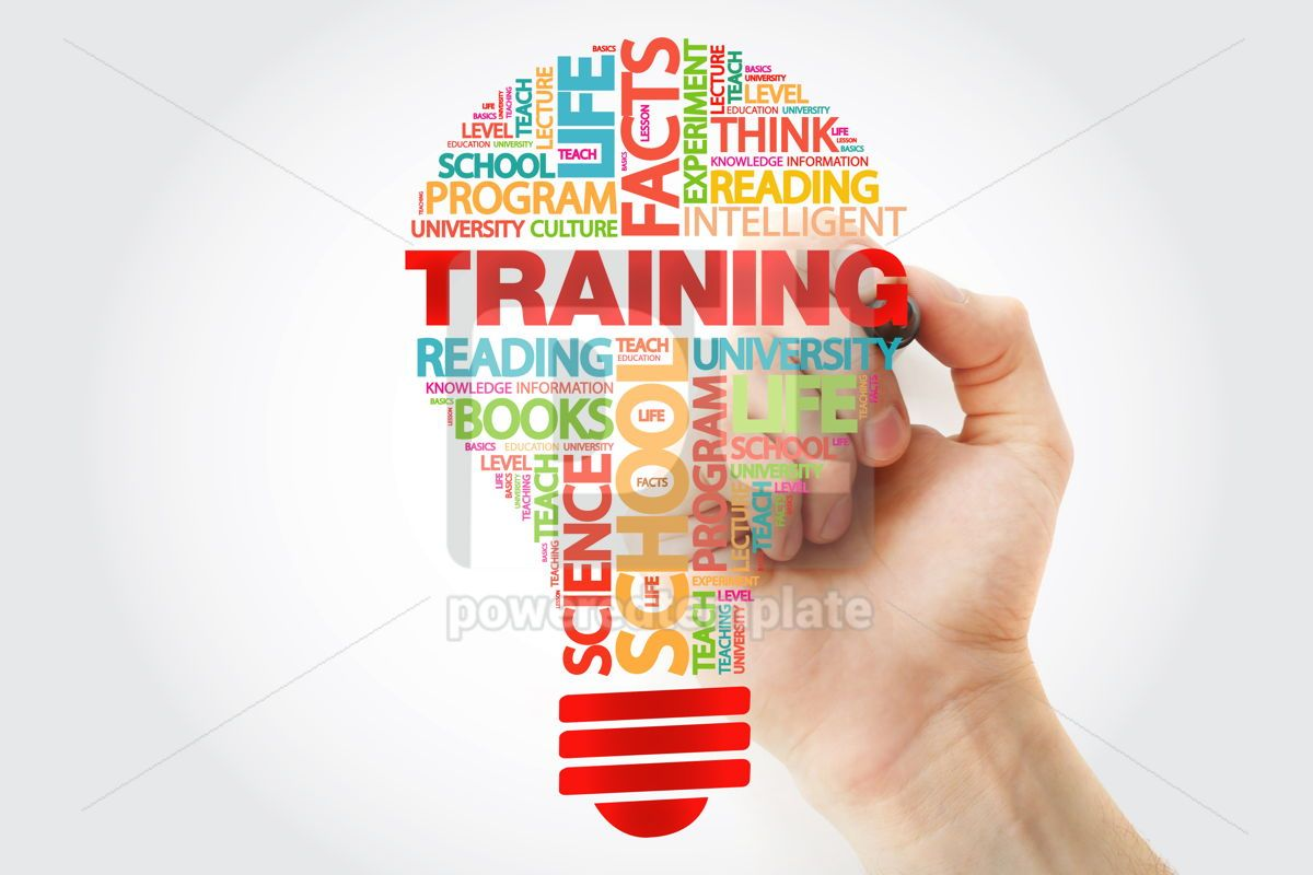 TRAINING bulb word cloud with marker business concept, 11263, Business — PoweredTemplate.com
