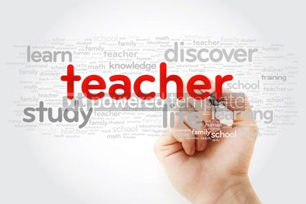 Business: TEACHER word cloud with marker education concept background #11281