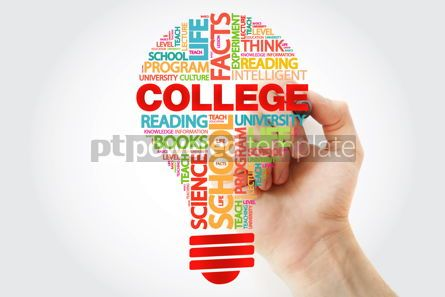 Business: COLLEGE bulb word cloud with marker business concept background #11286