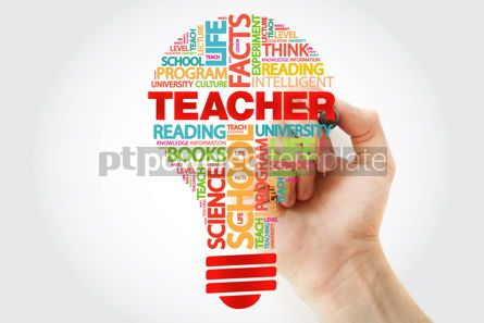Business: TEACHER bulb word cloud with marker business concept #11288