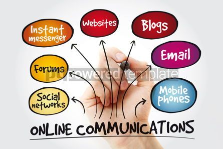 Business: Online communications mind map with marker business concept #11334