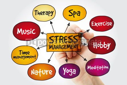 Business: Stress Management mind map with marker business concept backgro #11346