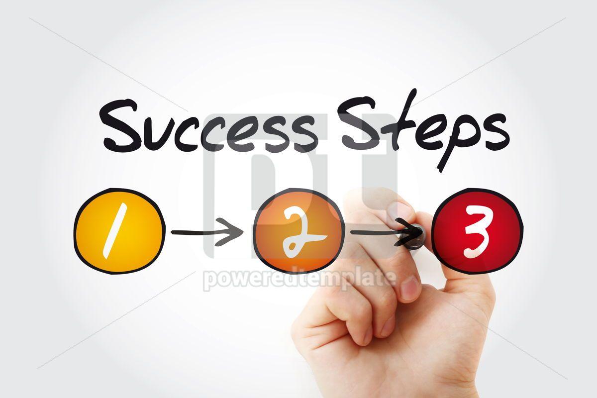 3 Success Steps business concept with marker presentation backg, 11374, Business — PoweredTemplate.com