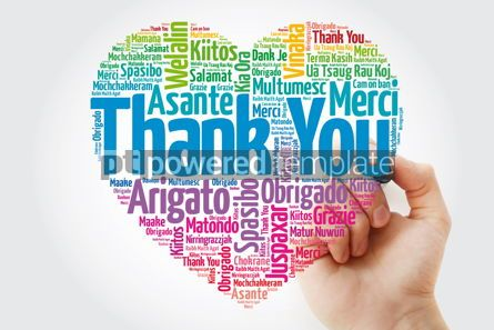 Business: Thank You Love Heart Word Cloud in different languages with mark #11375