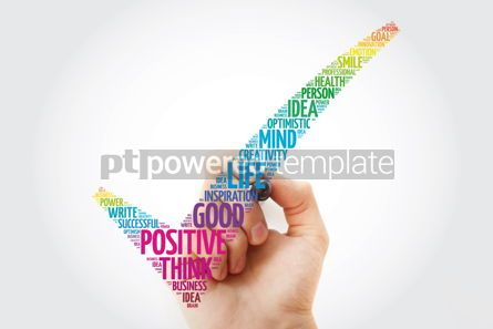 Business: Positive thinking check mark with marker business concept words #11378