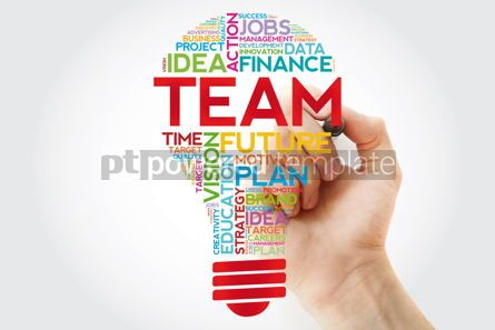 Business: TEAM bulb word cloud with marker business concept #11382