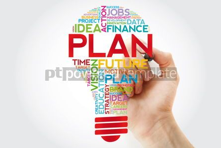 Business: PLAN bulb word cloud with marker business concept #11383