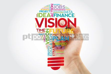 Business: VISION bulb word cloud with marker business concept #11386