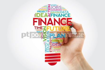 Business: FINANCE bulb word cloud with marker business concept #11387