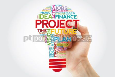 Business: PROJECT bulb word cloud with marker business concept #11388