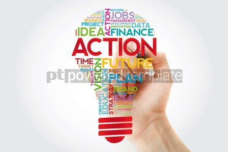 Business: ACTION bulb word cloud with marker business concept background #11390