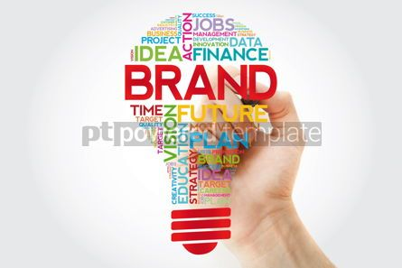 Business: BRAND bulb word cloud with marker business concept #11391