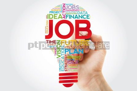 Business: JOB bulb word cloud collage with marker business concept #11392