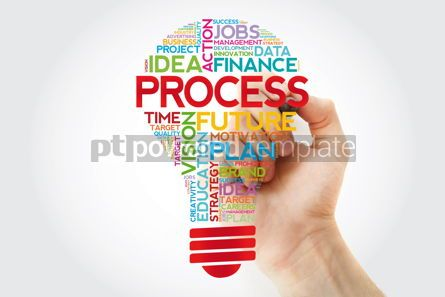 Business: PROCESS bulb word cloud collage business concept background #11393