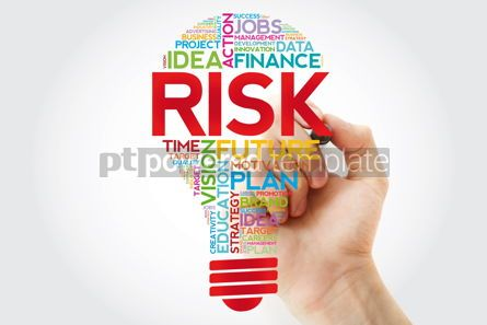 Business: RISK bulb word cloud collage with marker business concept backg #11396