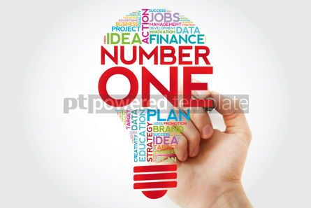 Business: NUMBER ONE bulb word cloud collage with marker business concept #11398