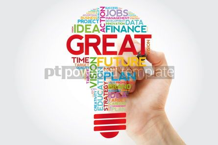 Business: GREAT bulb word cloud collage with marker business concept back #11401