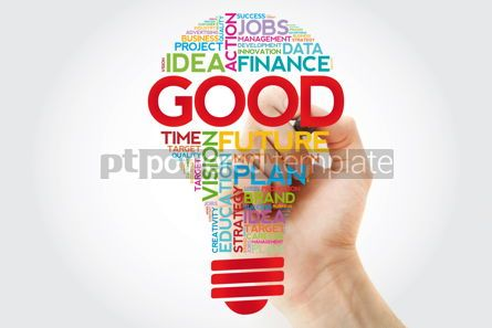 Business: GOOD bulb word cloud collage with marker business concept backg #11402