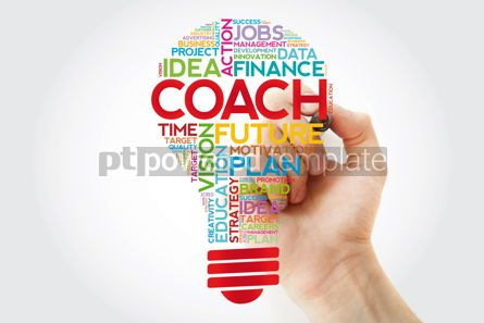 Business: COACH bulb word cloud collage with marker business concept back #11405