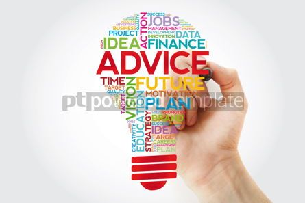 Business: ADVICE bulb word cloud collage with marker business concept bac #11406