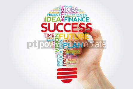 Business: SUCCESS bulb word cloud collage with marker business concept #11407