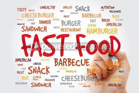 Food & Drink: FAST FOOD word cloud with marker concept background #11413