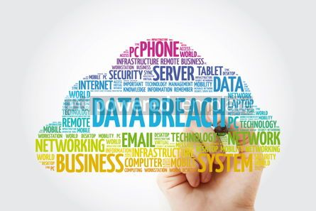 Education: Data breach word cloud with marker technology concept backgroun #11441