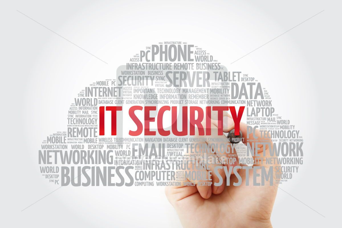 IT Security word cloud collage with marker technology concept b, 11458, Education — PoweredTemplate.com