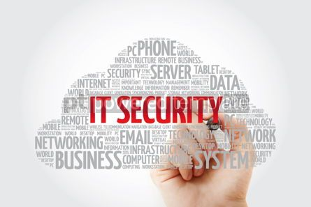 Education: IT Security word cloud collage with marker technology concept b #11458