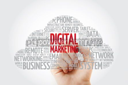 Education: Digital Marketing word cloud with marker business concept backg #11464
