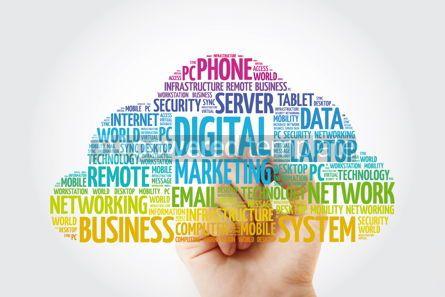 Education: Digital Marketing word cloud with marker business concept backg #11465