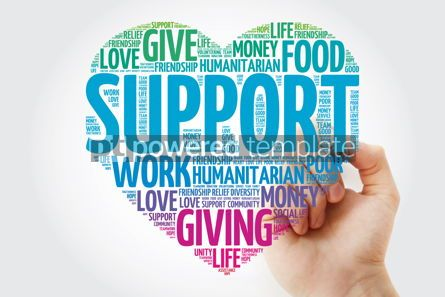 Business: Support heart word cloud with marker social concept #11476