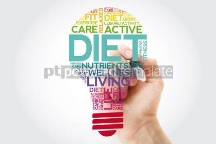 Health: DIET bulb word cloud with marker health concept background #11498