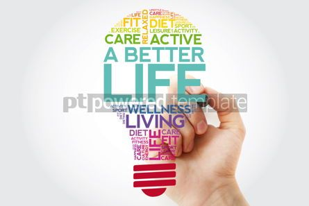 Health: A Better Life bulb word cloud with marker health concept #11499