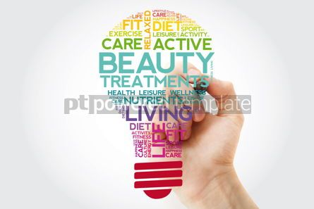 Health: Beauty Treatments bulb word cloud collage with marker health co #11500