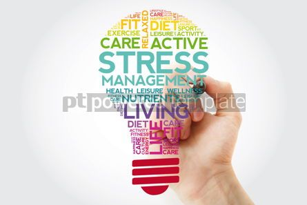 Health: Stress Management bulb word cloud collage with marker health co #11501