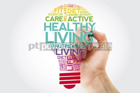 Health: Healthy Living bulb word cloud collage with marker health conce #11502