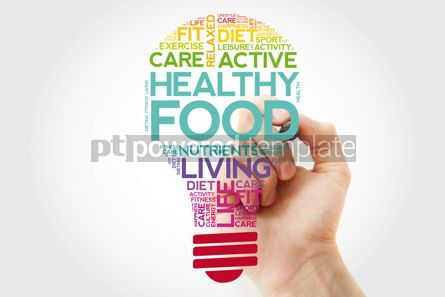 Health: Healthy Food bulb word cloud with marker health concept #11504