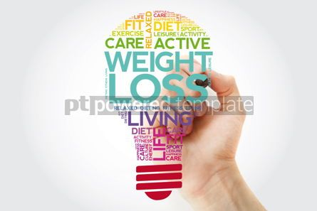 Health: WEIGHT LOSS bulb word cloud collage with marker health concept  #11506