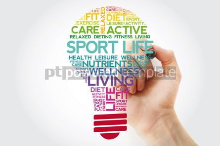 Health: Sport Life bulb word cloud collage with marker health concept b #11507